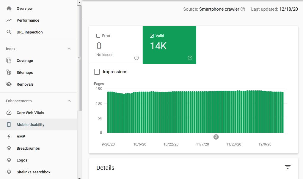 گزارش استفاده از طریق تلفن همراه در سرچ کنسول گوگل