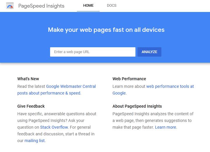 صفحه اصلی تست سرعت سایت توسط Google PageSpeed Insights