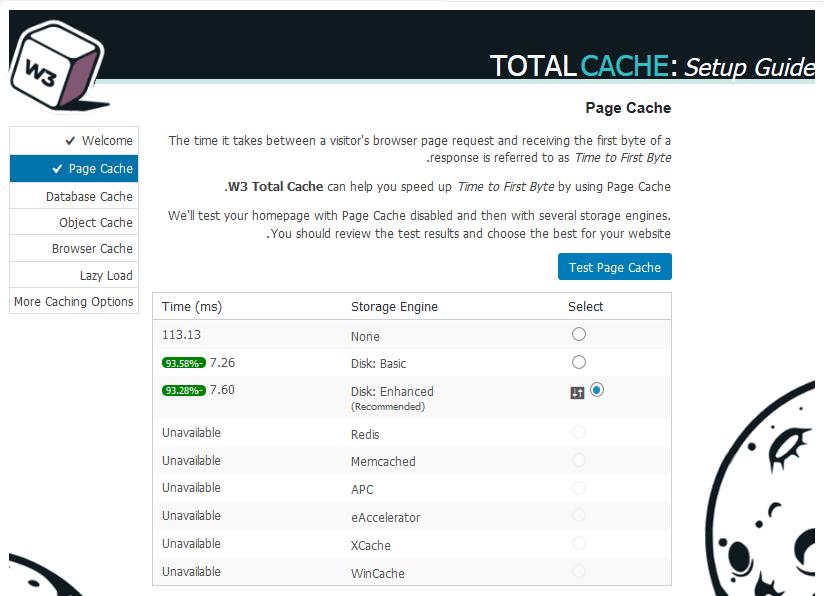 افزایش سرعت با تنظیم کش صفحات سایت Page Cache